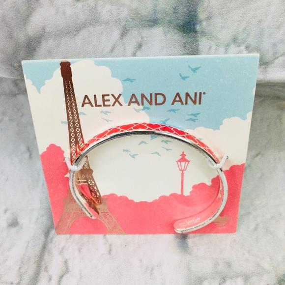 Alex & Ani Silvertone Heart Cuff Bracelet